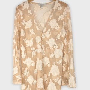 Forever 21 Contemporary Lace Long Line Kimono